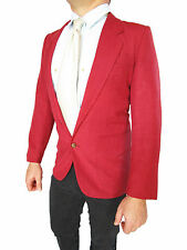 CACHAREL Mens Red Casual Single Breast Tweed Smoking Suit Jacket sz S UK 36 AO73