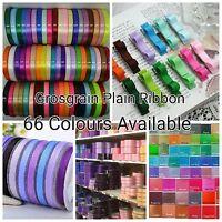 Premium Grosgrain Ribbon 1 3 or 5 Metre Cut of 10mm - 66 Plain Solid Colours