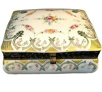 VINTAGE PORCELAIN TRINKET BOX JEWELRY HAND PAINTED FLORAL HINGED DESIGN 4 3/4""