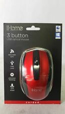 iHome IH-BL-M600R 3 Buttons Compact USB Corded Optical Mouse Red