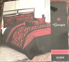 7 Piece Red Black Queen Bed Ensemble Bedroom Set Bedding Comforter Pillow