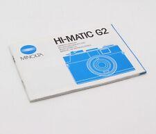 Original Minolta Hi-Matic G2 35mm Film Camera Manual / Instructions - c. 1982 GC