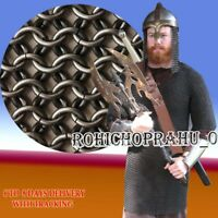 Medieval black chain mail shirt size XXL, Re-enactment Armour Chainmail Costume