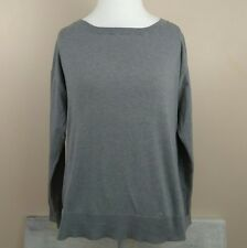 Lacoste Large Sweater Women's Silk Cotton Blend Scoop Neck Gray Long Sleeve
