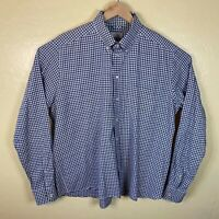 Eton Contemporary Fit Button Down Shirt Mens 2XL Blue Brown Plaid Long Sleeve