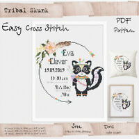 Tribal Skunk - Birth announcement Woodland animals Cross stitch PDF Pattern #172