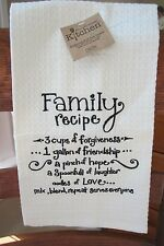Embroidered Tea Towel Kay Dee Designs 100% Cotton Beige F0702 Family Recipe  Gift