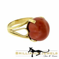 Beautiful Natural Genuine Red Coral Spherical Yellow Gold Ring, 26 TCW