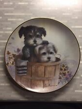 """Ruane Manning Puppy Pals """"Hide and Seek"""" Terrier Puppies Collectible Plate Euc"""