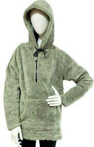 Victorias Secret PINK Soft Fleece 1/4 Zip Pullover Sweatshirt Hoodie Olive