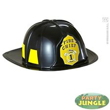 BLACK FIREMAN HAT BADGE HARD PLASTIC DRESSING UP Adults Fancy Dress Costume