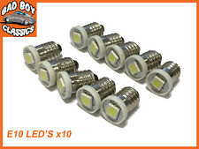 10x Classic Car E10 LED Bulbs Screw Fit Smiths Gauges MG, FORD, MINI, TRIUMPH