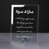 Personalised Engraved Glass Plaque Mum and Dad Gift PEG-MUDA