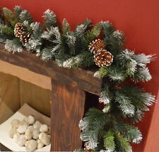 270cm x 25cm frosted glacier christmas garland with pine cones - Christmas Garlands