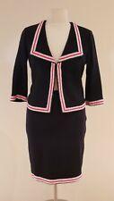St. John Black w/Red & White Trim Skirt Suit - Size 12/14