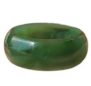8mm Wide Genuine Canadian Nephrite Green Jade Band Ring - Multiple Sizes