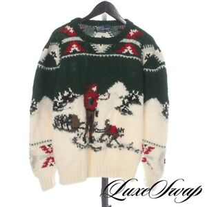 RARE Vintage Polo Ralph Lauren HandKnit Green Cream Snow Iditarod Dogs Sweater M