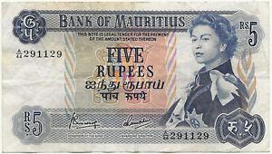 Ile Maurice - Elizabeth II - billet de 5 rupees (1967) TTB !  P.30