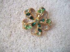 NOLAN MILLER Stunning Pin Brooch Big Goldtone & Multi Swarovski Crystals Free Sh