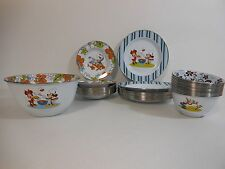 Disney Store Plates Bowls Serving Dish 37 PIECE METAL Mickey Minnie Donald Goofy