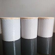 Embossed ceramic tea sugar coffee jars with bamboo lids set of 3 storage pots