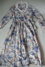 Laura Ashley vintage Dress Size 16 blue & peach Flowers Lace collar