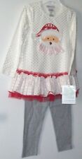 New Bonnie Jean Christmas Pants Set Polka Dots, Santa SZ 4T NWT