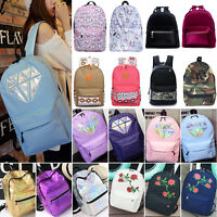 Girls Women Canvas Vintage Backpack Rucksack College Shoulder School Bag Satchel