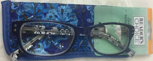 New! Foster Grant Readers Choice HEIDI Blue 2.00 Reading Glasses W/Soft Case.