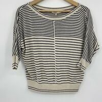 RACHEL Rachel Roy Womens Dolman Sleeve Knit Sweater Top Beige Navy Striped Sz XS