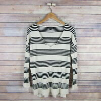 ANN TAYLOR Women's Long Sleeve V Neck Linen Blend Blouse XS Beige Black Striped