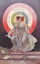 """C3548) WW1, """"SORELLE!"""", CIVILTA' DIRITTO UMANITA', FRANCIA E ITALIA. VIAGGIATA."""