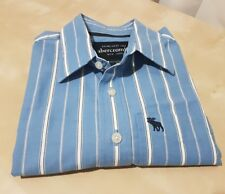 Boys ABERCROMBIE & FITCH New York Blue White Striped Long Sleeved Shirt L Large