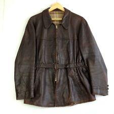 1940's German Striwa Goatskin Leather Coat Jacket Zipp Zipper - Size M - Brown