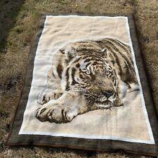 Biederlack Tiger Fleece Blanket Throw Reversible 74x54 Made in Usa Vintage