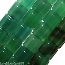 GREEN ONYX BEADS DOUBLE STRAND SQUARE 2 HOLE 10MM BEAD
