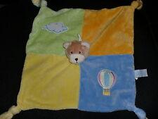 doudou plat ours bleu vert jaune mongolfière nuage GIPSY