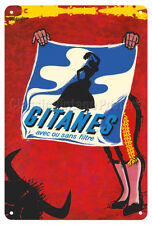 Gitanes French Cigarettes - Yoldjoglou 1950s - 8in x 12in Vintage Metal Sign