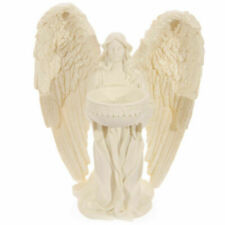 Kneeling Angel Cream Resin Tealight Holder 18cm Tall PU