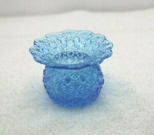 BLUE GLASS THISTLE BUD POSY VASE FENTON VANITY  DRESSING TABLE  COLLECTABLE