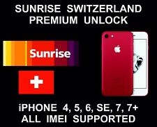 Sunrise Switzerland Premium Unlock: All IMEI: iPhone 4, 5, 6, 6S, SE, 7, 7+