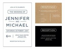 Wedding Invitations Simple Text Any Colors 50 Invitations & RSVP Cards