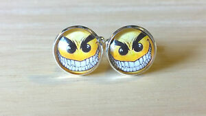 Evil Yellow Smiley, Glass Domed Cufflinks