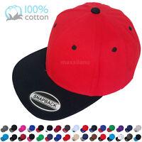 Snapback Hat Ball Cap Cotton Solid Blank Classic Visor Flat Brim Hip-Hop Fashion