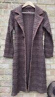 Monsoon Brown Bobble Knit Long Maxi Wool Mix Single Breasted Cardigan Jacket 8