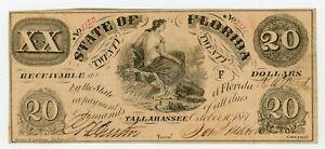 1861 Cr.4 $20 The State of FLORIDA Note - CIVIL WAR Era