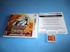 Pokemon Sun (Nintendo 3DS) XL 2DS Game w/Case & Insert