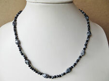 Shiny black onyx necklace with snowflake obsindian N719 HANDMADE