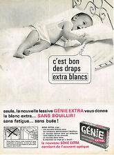 PUBLICITE ADVERTISING 045  1964  GENIE  lessive  pour les draps de bébé