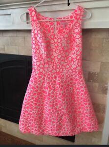 Lilly Pulitzer Joslin Dress Fiesta Pink White Floral  Sleeveless Sz 2